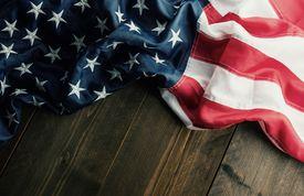 High Angle View Of American Flag On Table