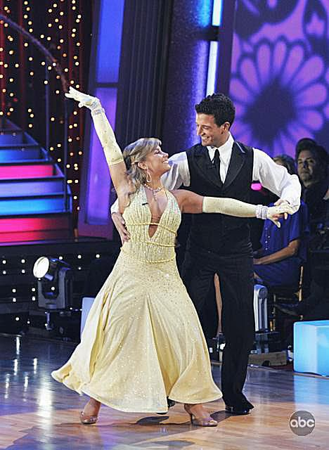 Olympic gymnast Shawn Johnson and partner Mark Ballas waltz on Dancing with the Stars