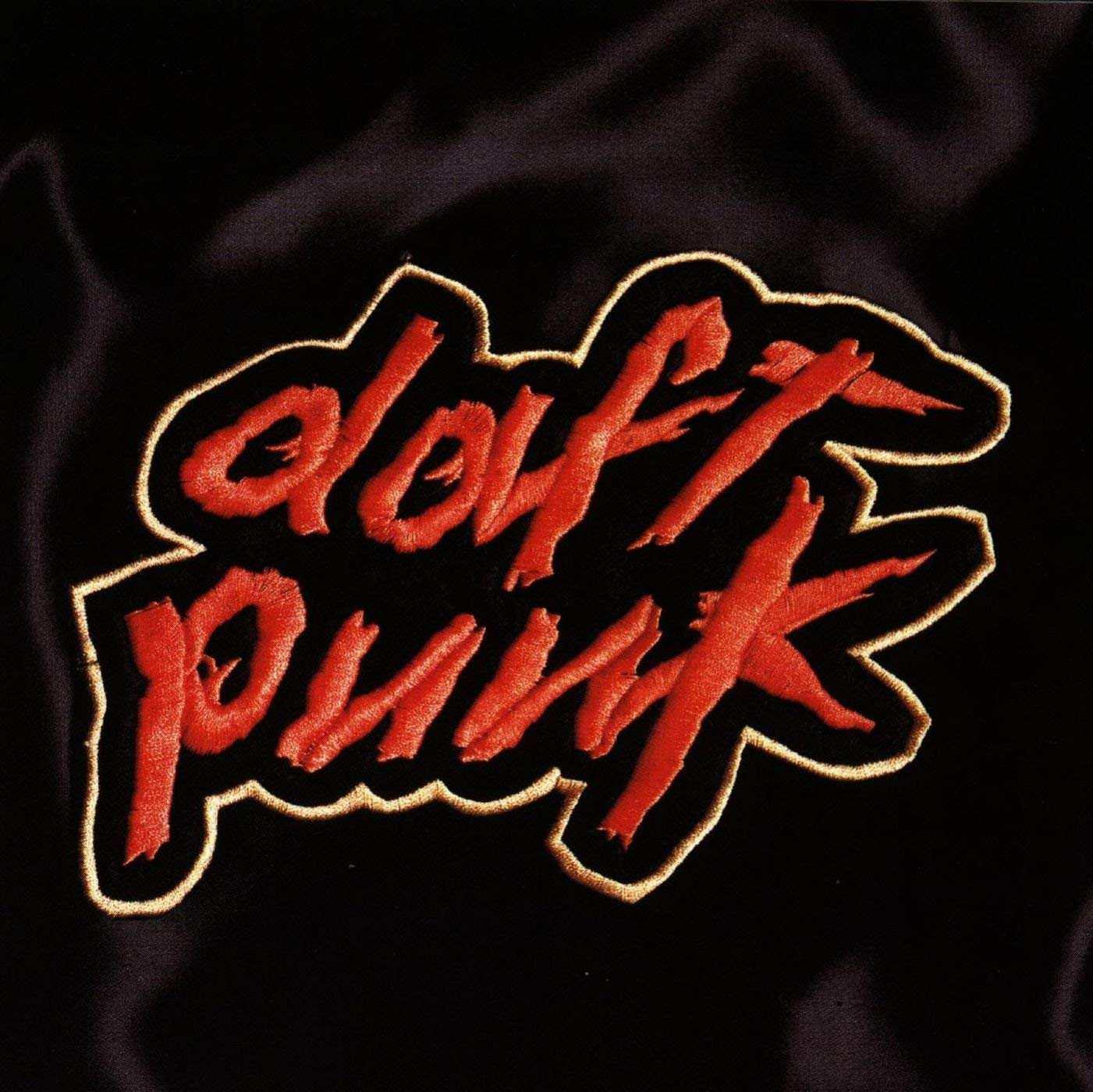 Daft Punk logo embroidered on black silk fabric.