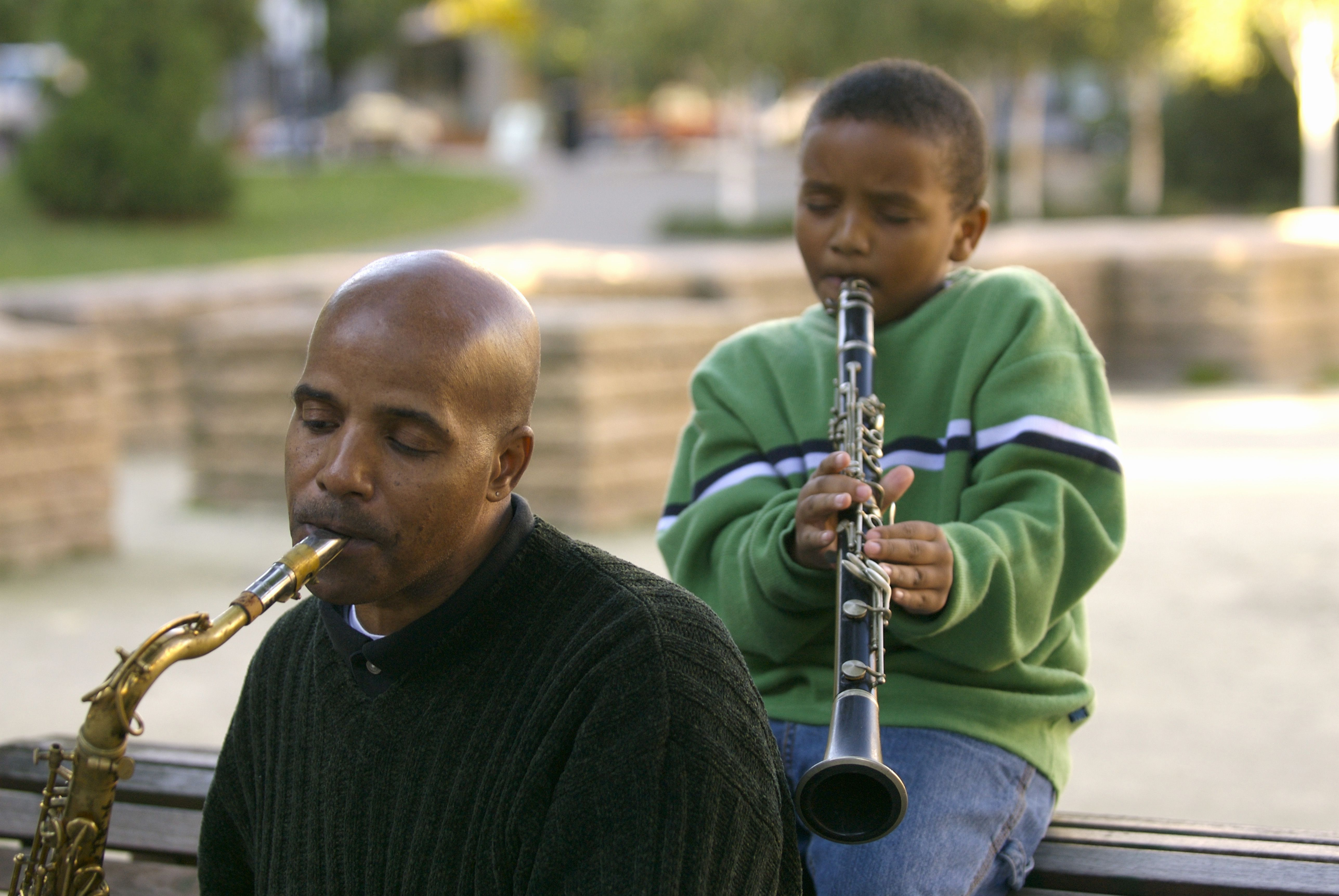 Father and son playing instruments