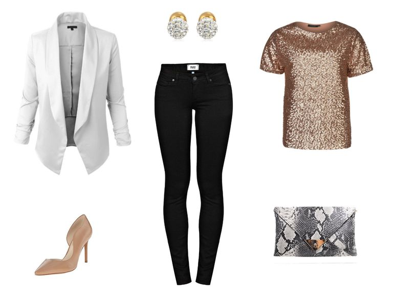 e3dedbf4dd7 New Year s Eve outfit. New Year s Eve outfit with black jeans and gold top.  Paige Denim