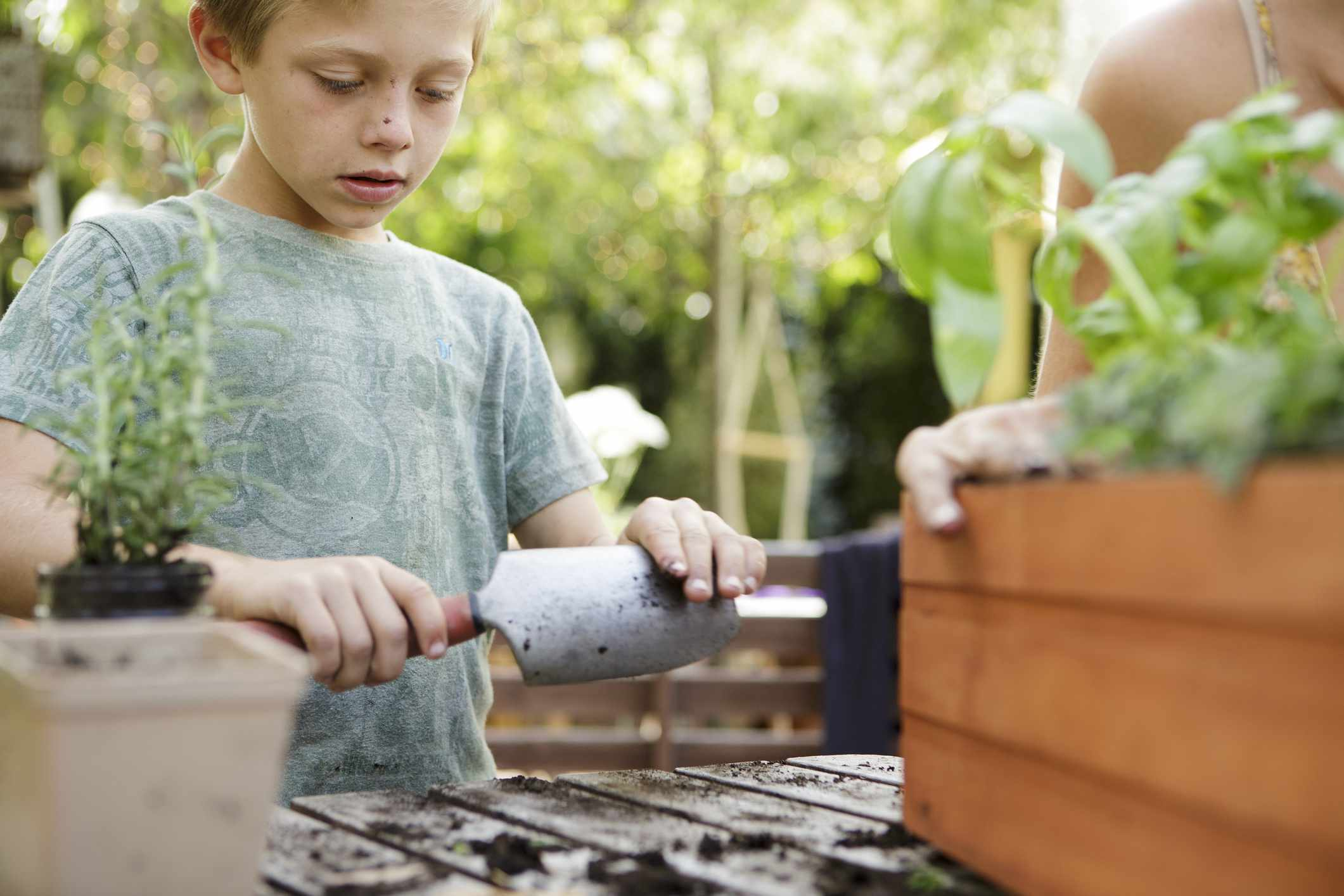 kid with trowel planting plants