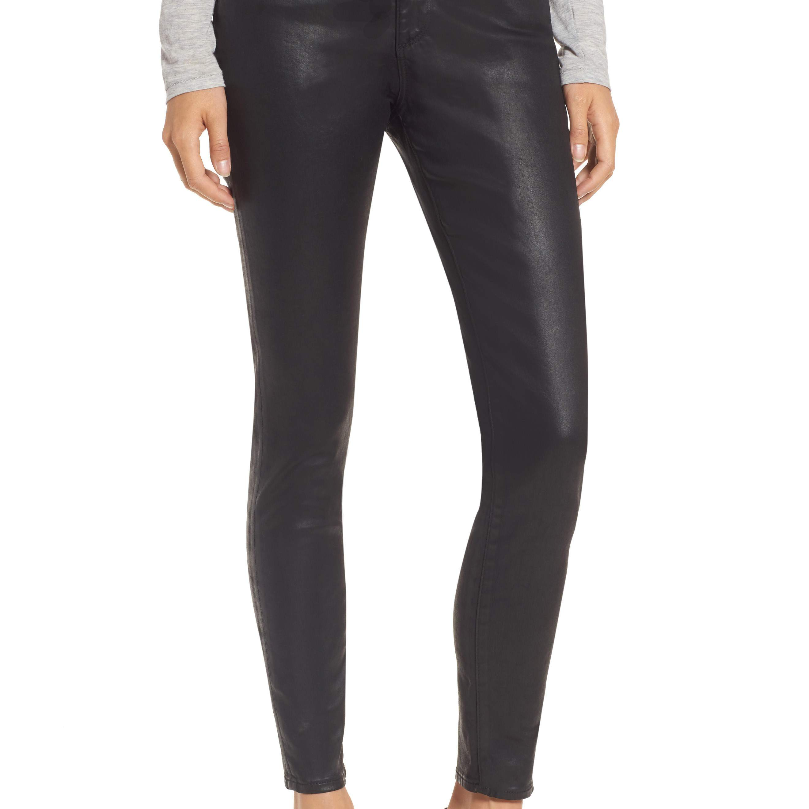 Black coated jeans for women