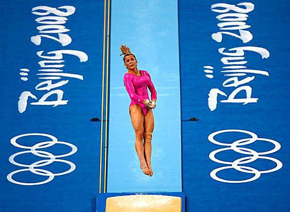 Gymnast Alicia Sacramone (USA) on vault at podium training at the 2008 Olympics