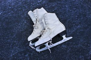 A close up of ice skates on ice