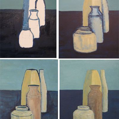 A still-life painting showing four stages of progression.