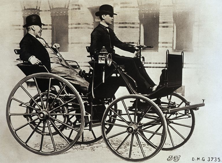 Gottlieb Daimler Riding in First Automobile