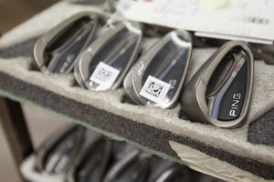 Ping G25 iron heads with cavity backs.