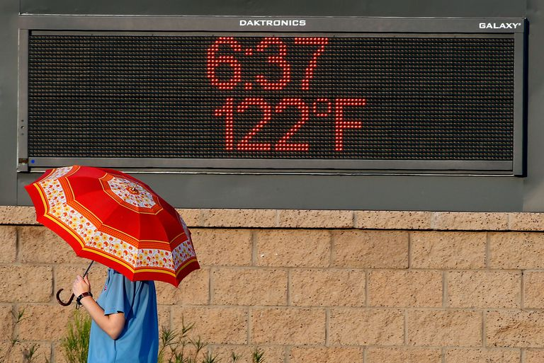 Person with a parasol walking past digital thermometer reading 122 degrees Fahrenheit