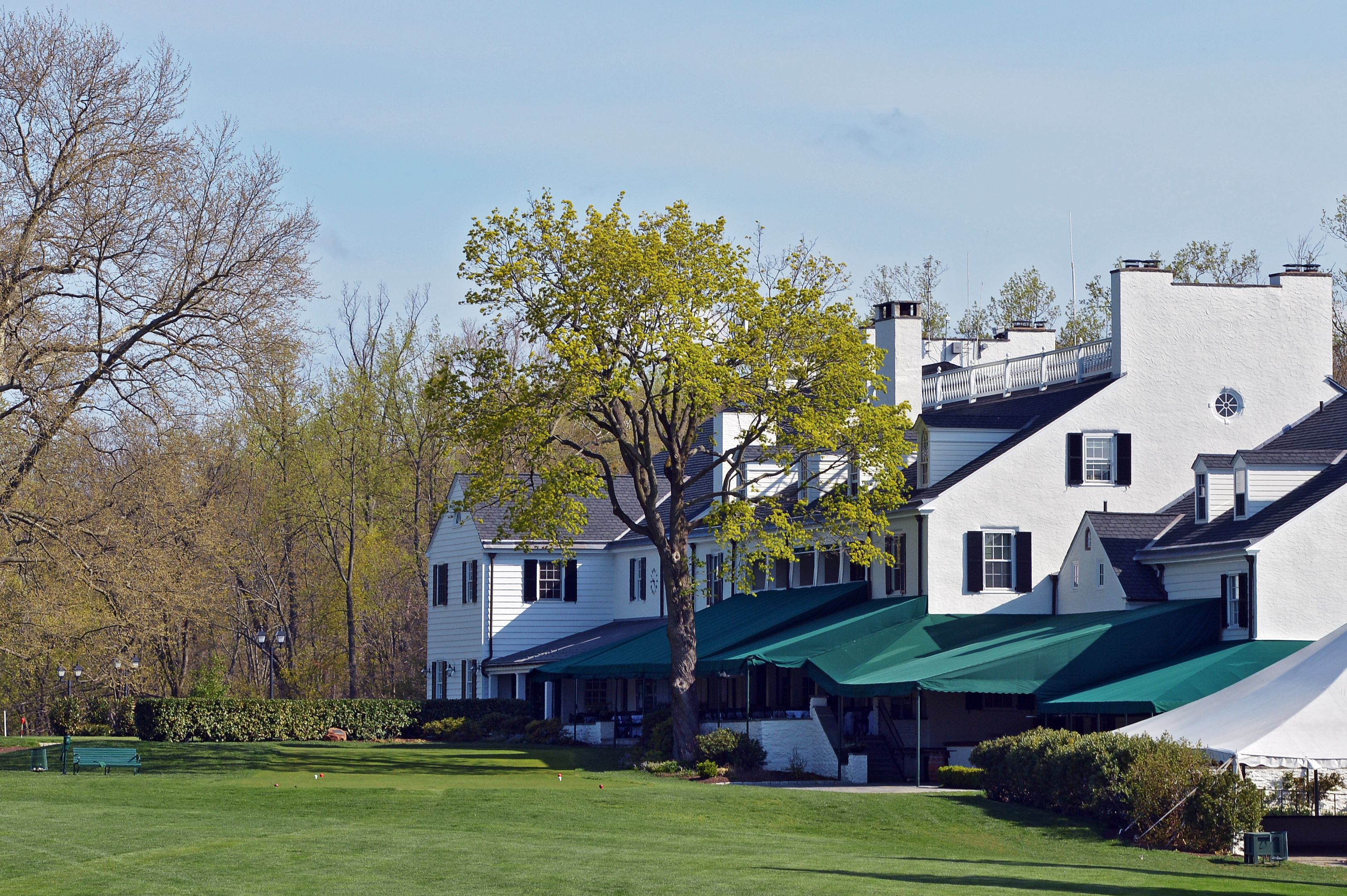 A view of the first tee and the clubhouse on the East Course at Merion Golf Club