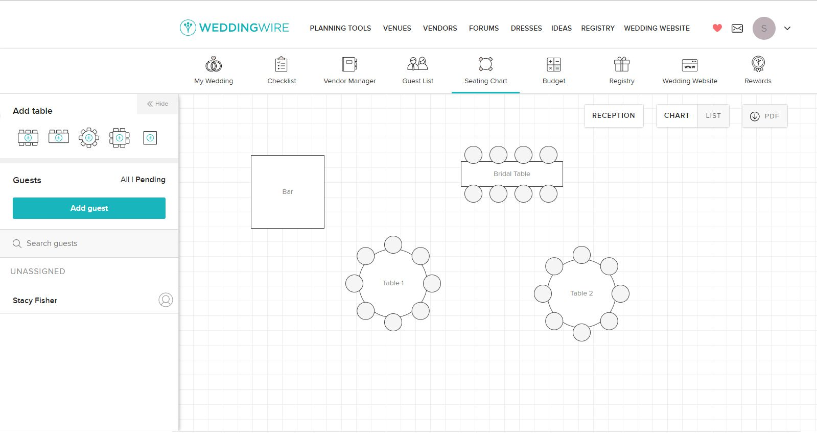 Planning a seating chart with an online application