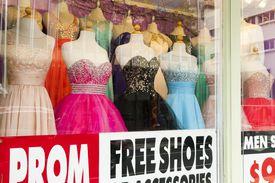 Prom dresses in shop window