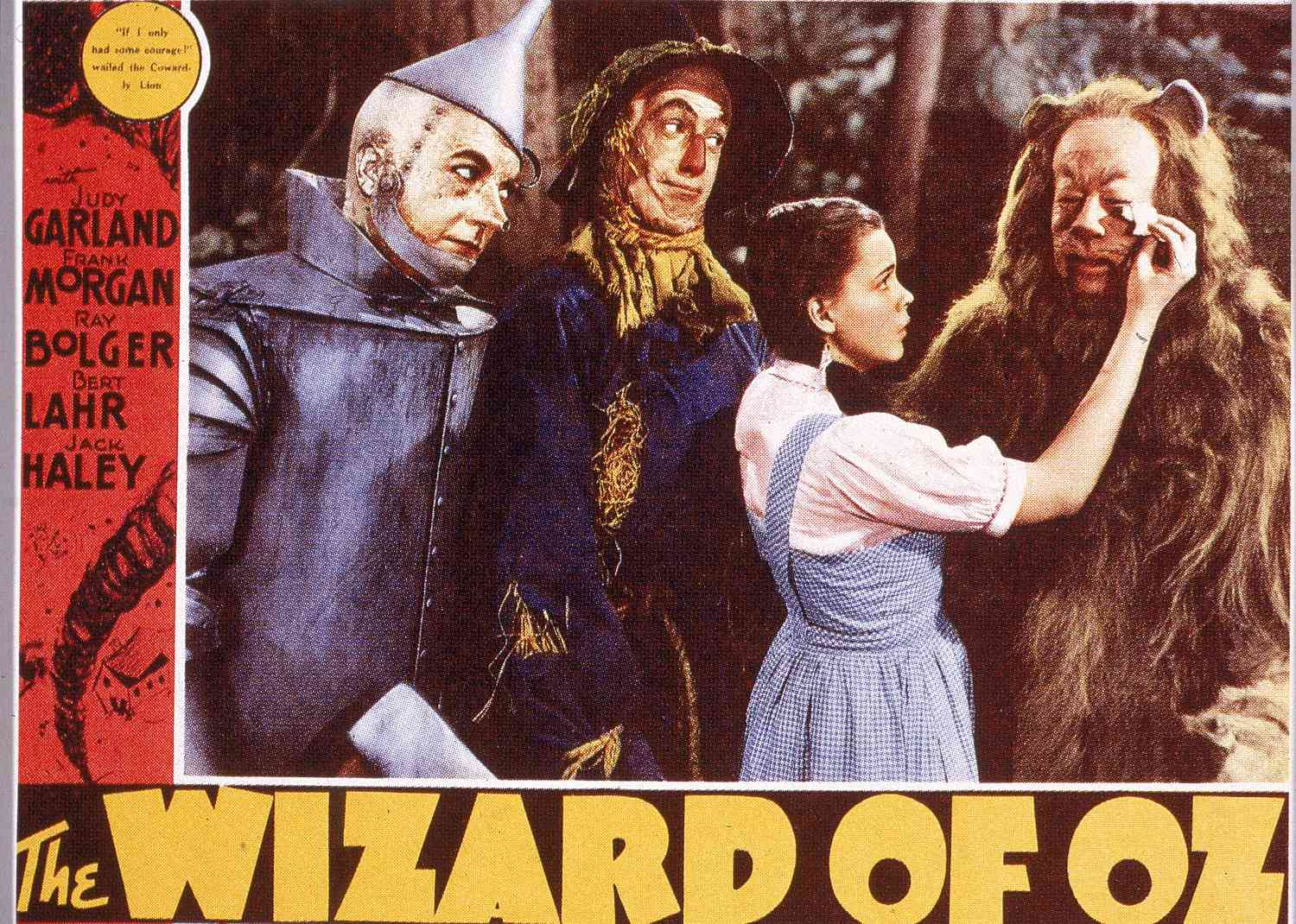 The cast of the 1939 MGM film 'The Wizard of Oz' depicted in a theatrical lobby card.