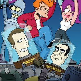 Al Gore and Richard Nixon party with Bender, Fry and Leela on Futurama.