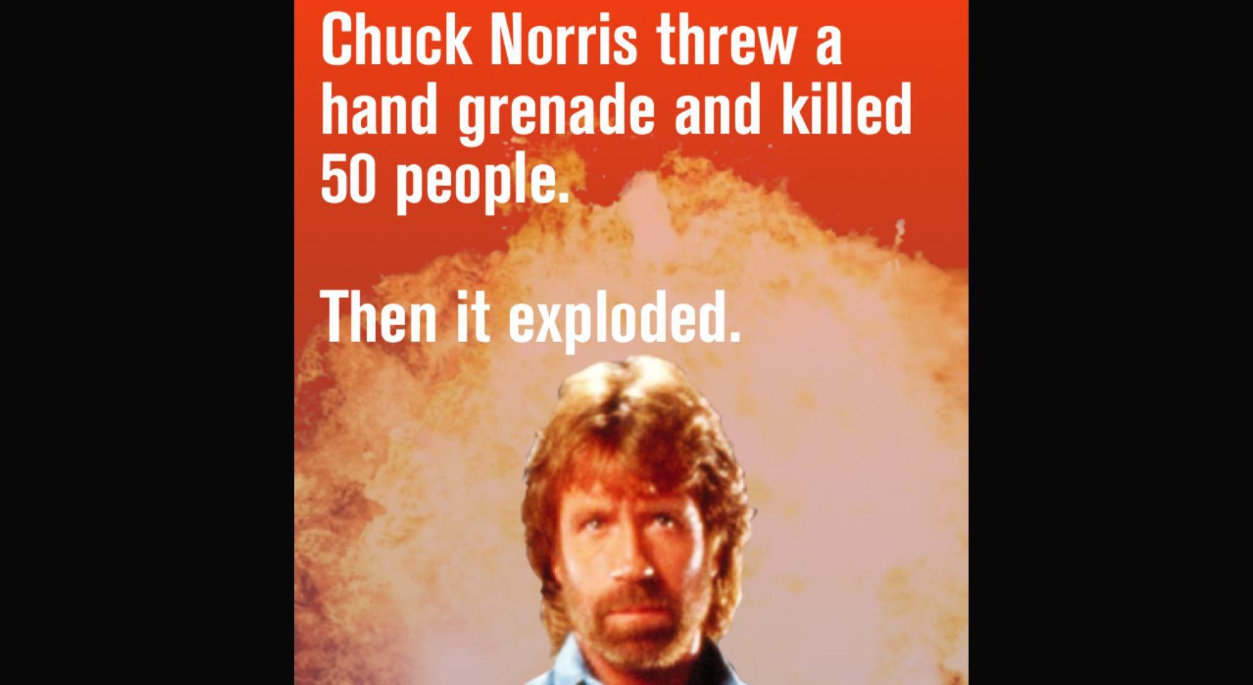 chuck norris hand grenade meme