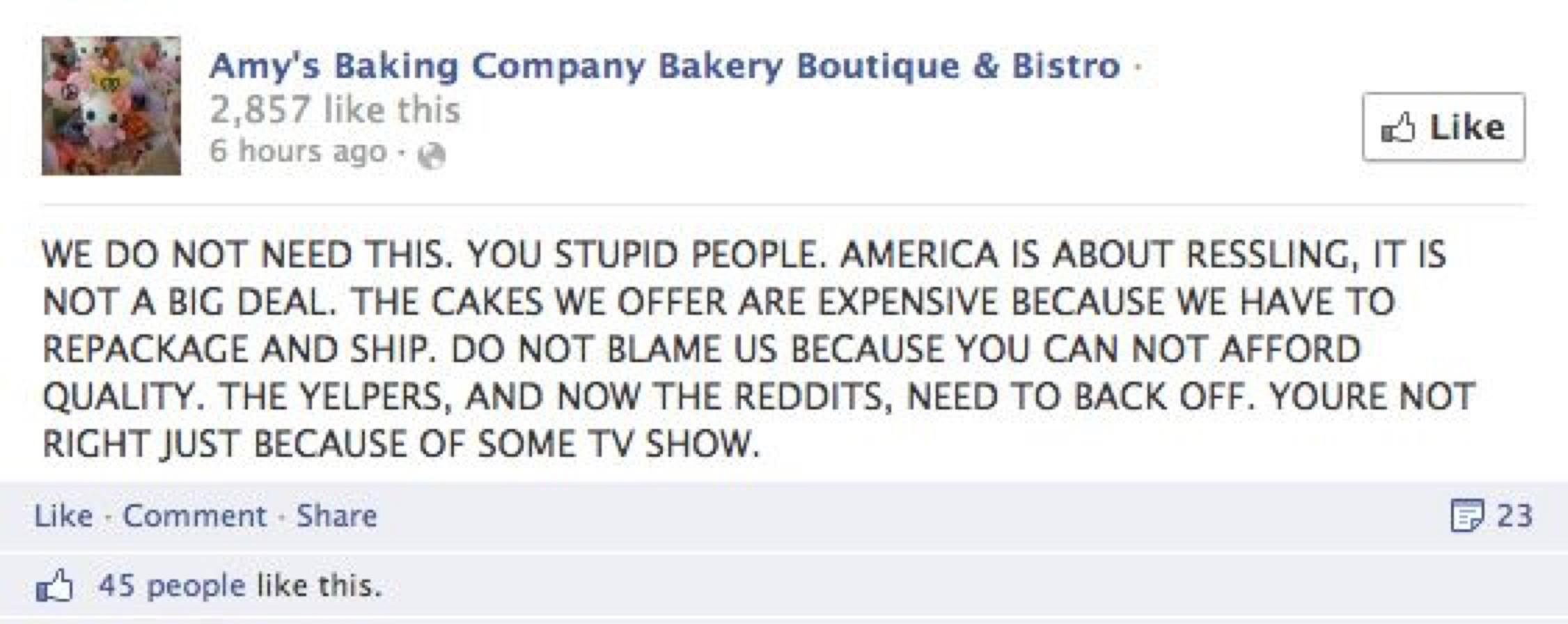 A facebook post.