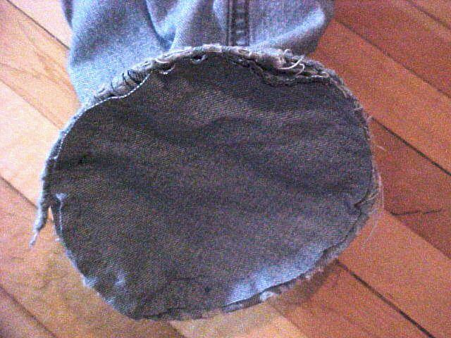 the bottom of a homemade yoga bag