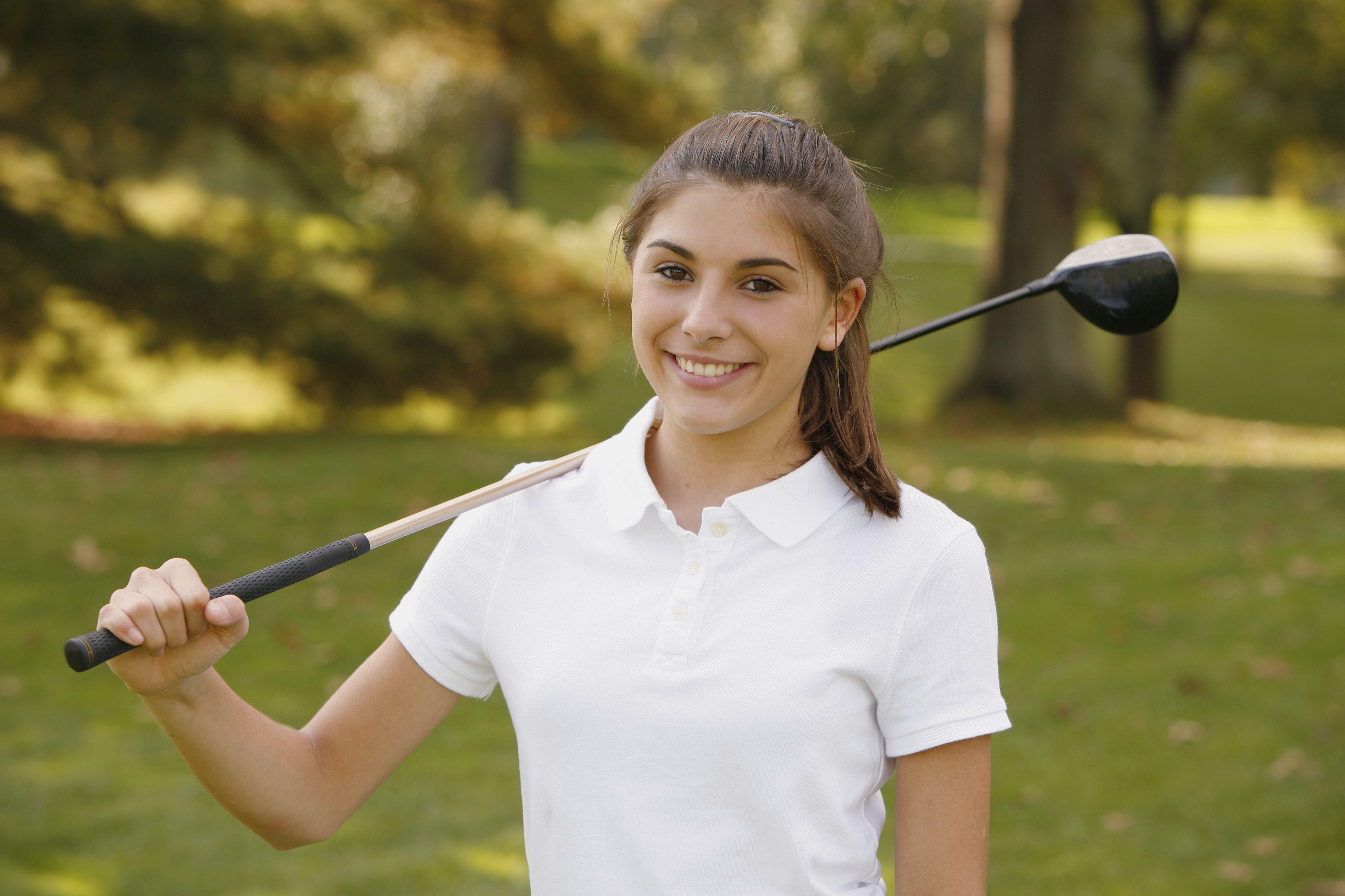 Teenage girl on golf course