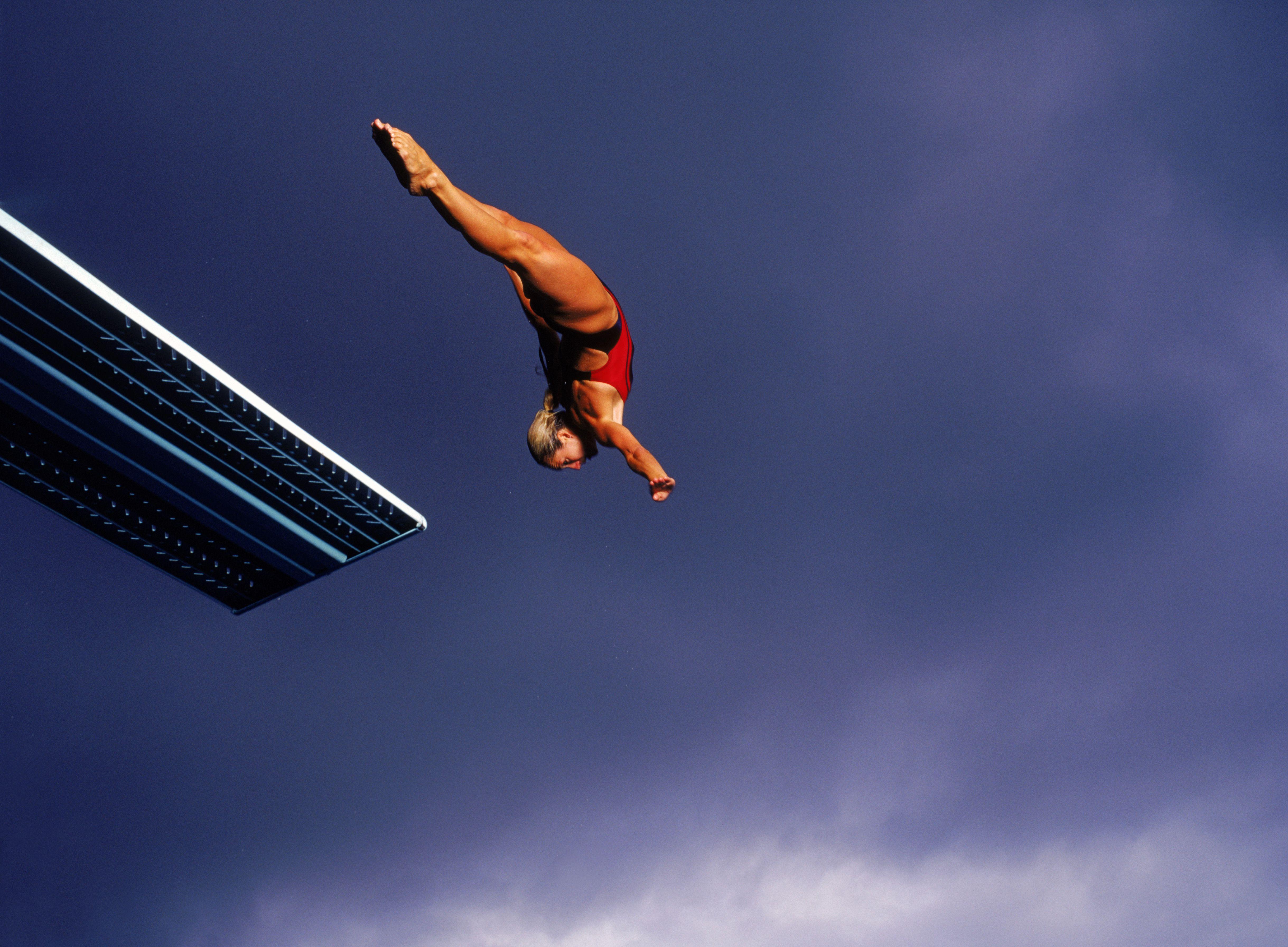 Diver performing a twisting dive.