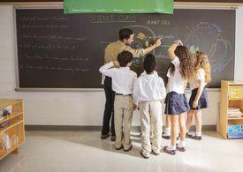Teacher Showing Students Diagram on Chalkboard
