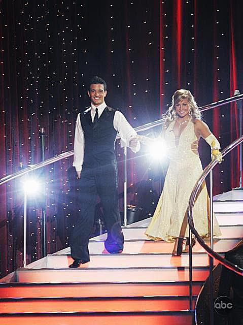 Olympic gymnast Shawn Johnson and partner Mark Ballas on Dancing with the Stars