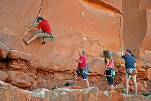 Use the 5 safety tips to properly set up a toprope from anchors at Tusher Canyon near Moab