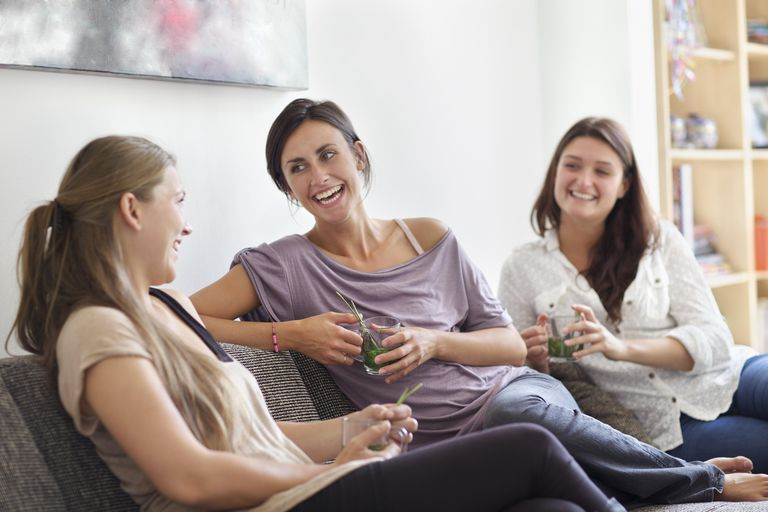 Women relaxing together with tea
