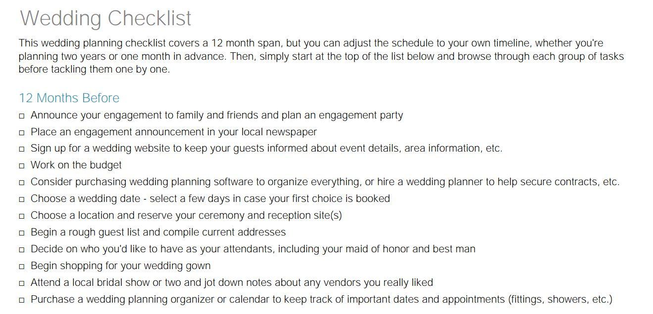A Little Wedding Guide wedding checklist.