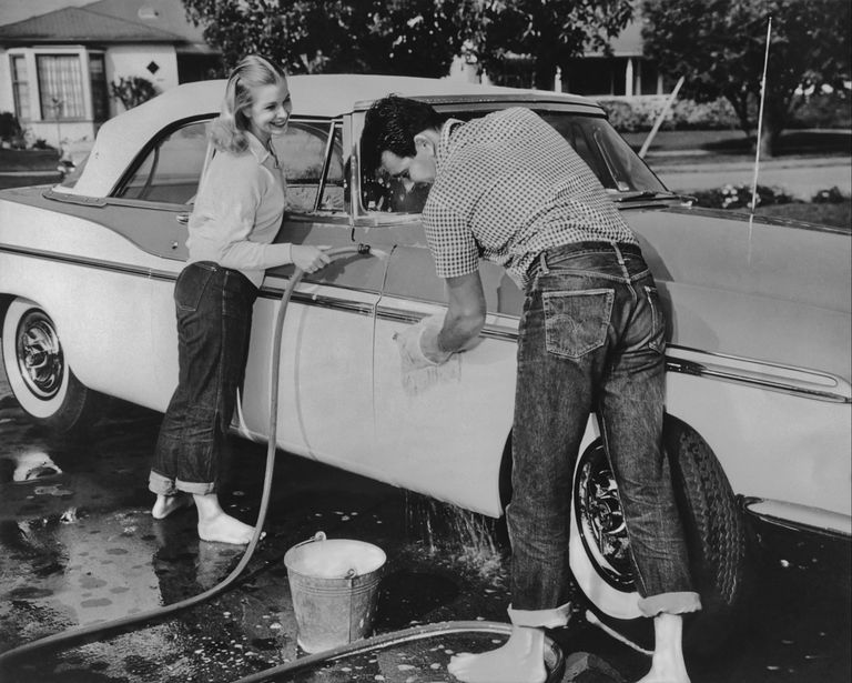 1e177395 Vintage archives photo of couple in jeans washing a car