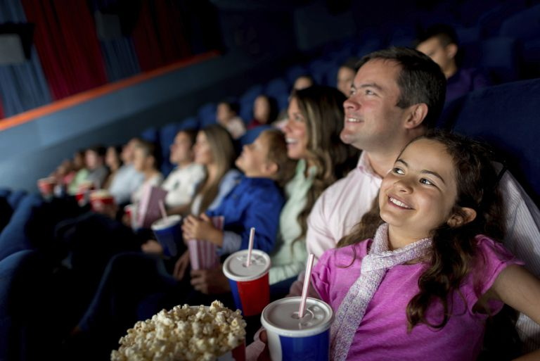 A picture of af amily at the movies
