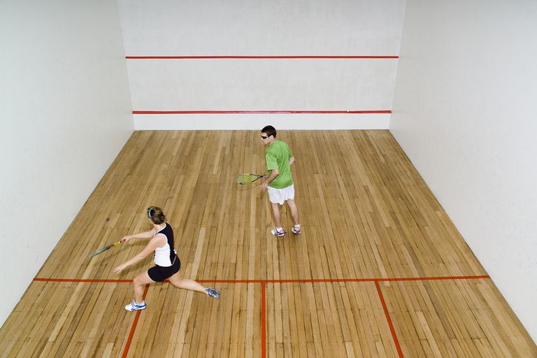 High Angle View of Two People Playing Squash