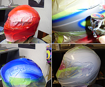 Four images depicting painting and masking tape.