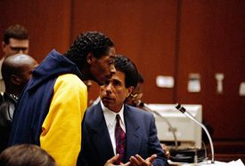 Snoop Dogg Talking with Attorney at Arraignment