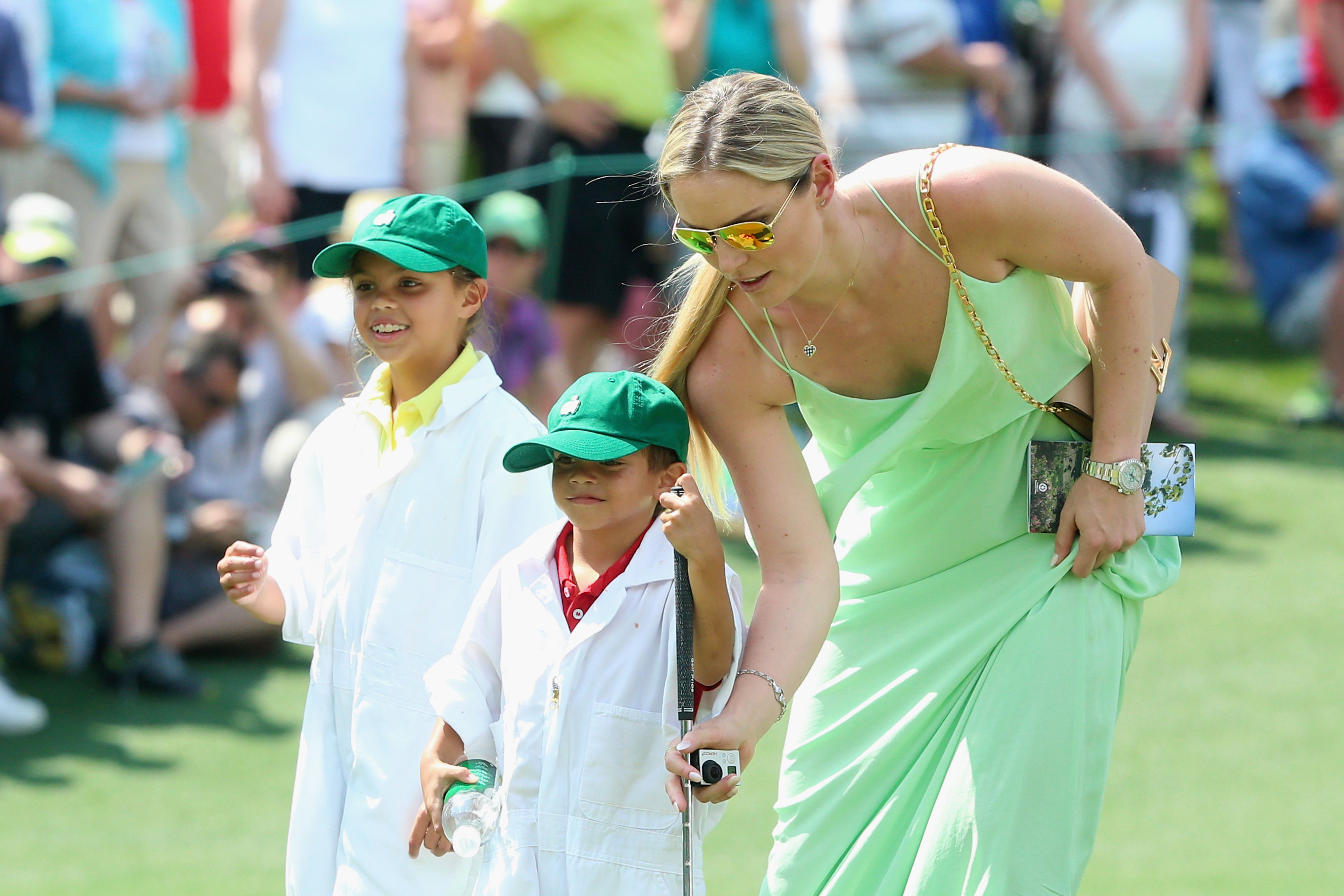 Lindsey Vonn with Charlie and Sam Woods during 2015 Masters Par-3 Contest