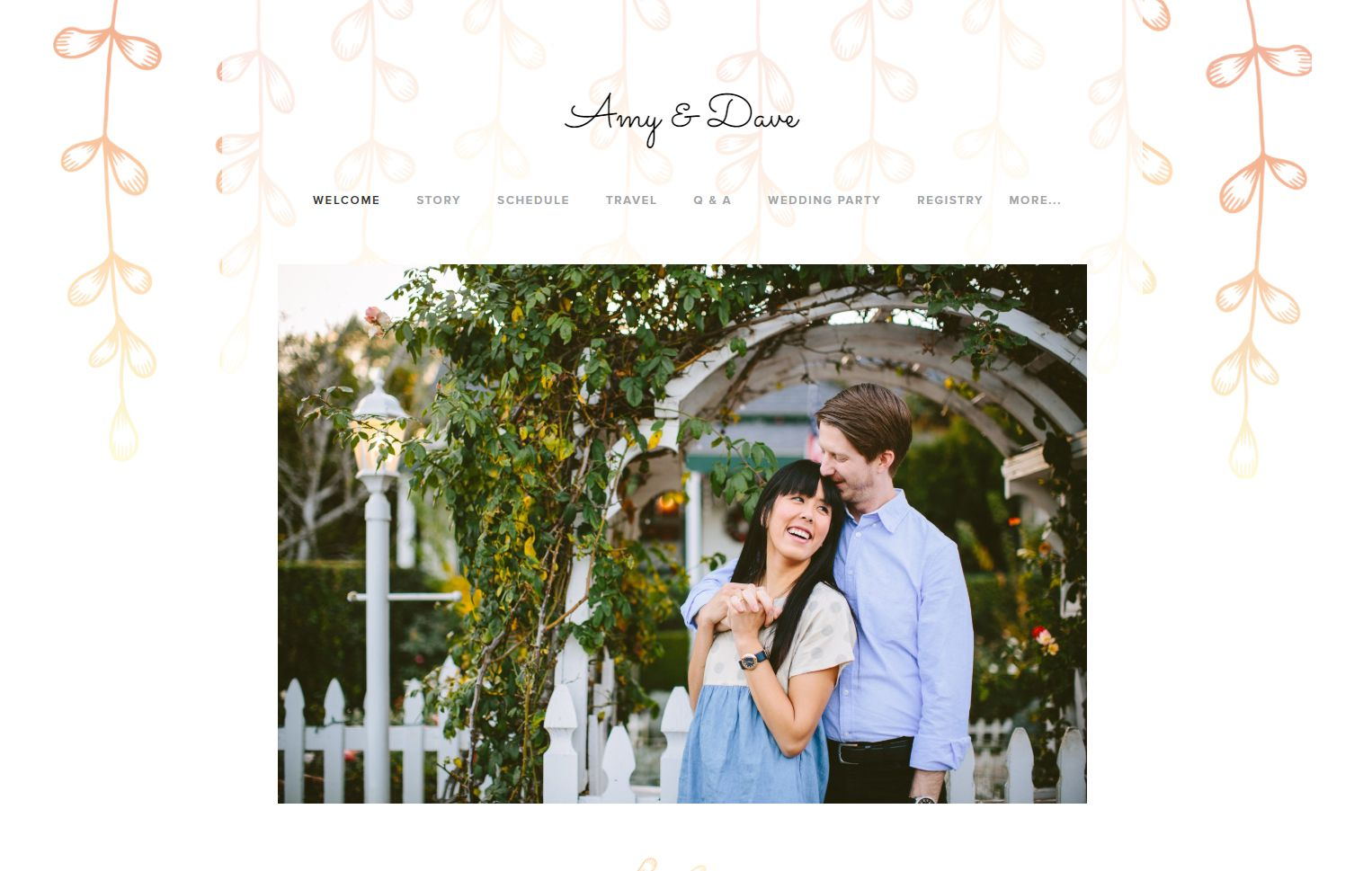 A screenshot of a wedding website with a couple embracing