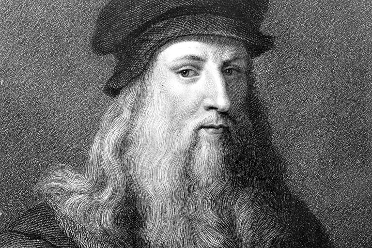 Circa 1510, The Italian painter, sculptor, architect and engineer Leonardo da Vinci, (1452 - 1519). Original Artwork: Engraving by J Posselwhite after an engraving by Raphael Morghen, (1758 - 1833), after a self-portrait by da Vinci.