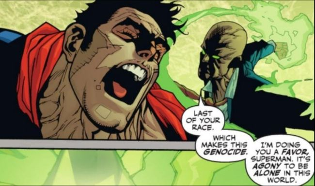 Luthor, empowered by Kryptonite, takes on the Man of Steel in a comic panel from