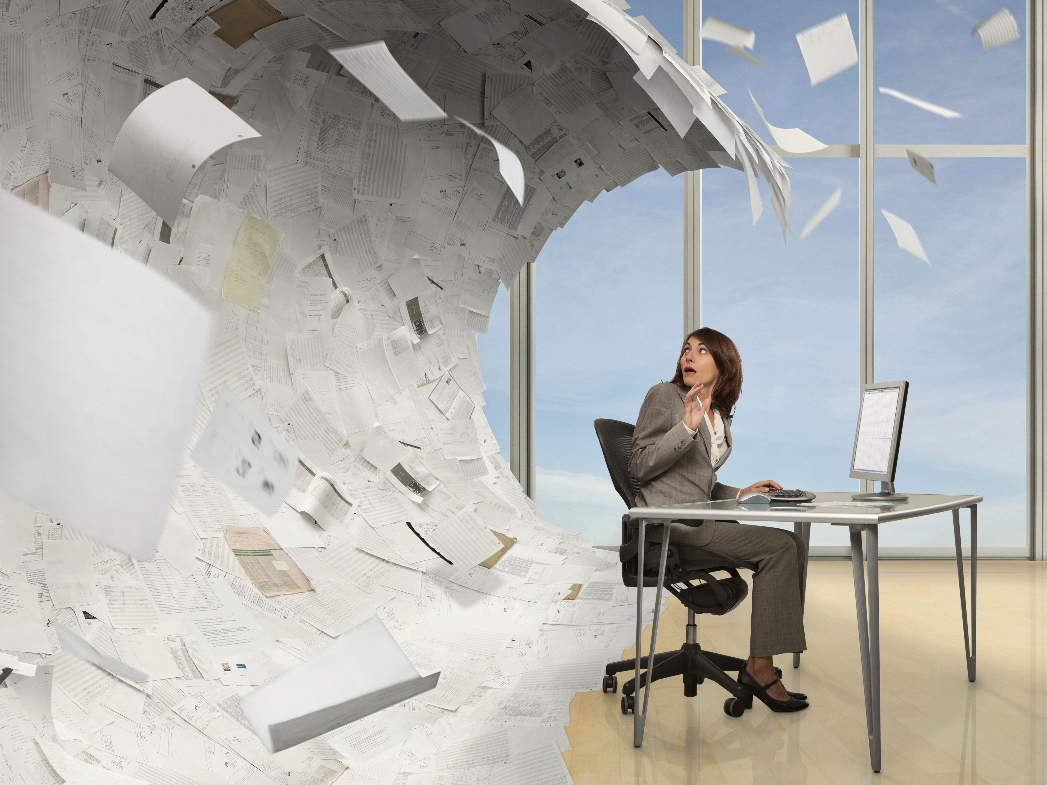 Wave of paperwork about to crash on mixed race businesswoman