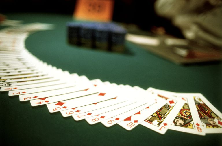 cards spread on a Blackjack table