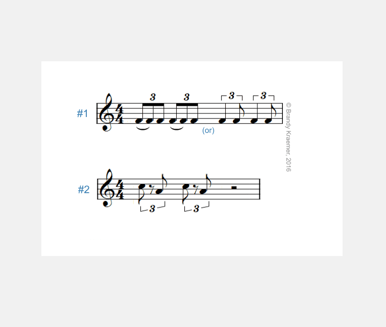 Musical triplets with rests and irrational rhythm
