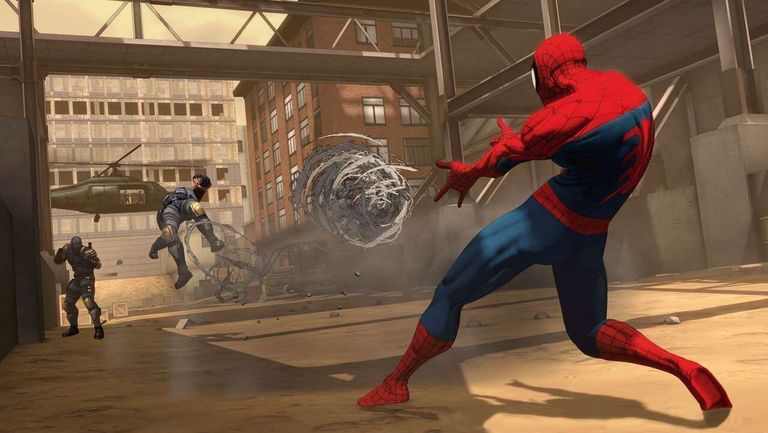Spider-Man shooting webs at bad guys