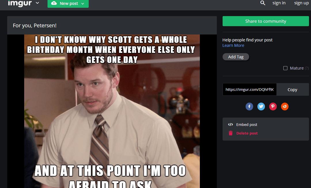 Screenshot of imgur meme being created Screenshot