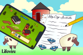 Hay Day on an iPhone next to a paper titled Hay Day Shortcuts