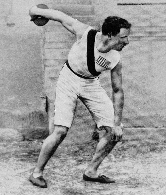 Robert Garrett displays his discus form at the 1896 Olympics.