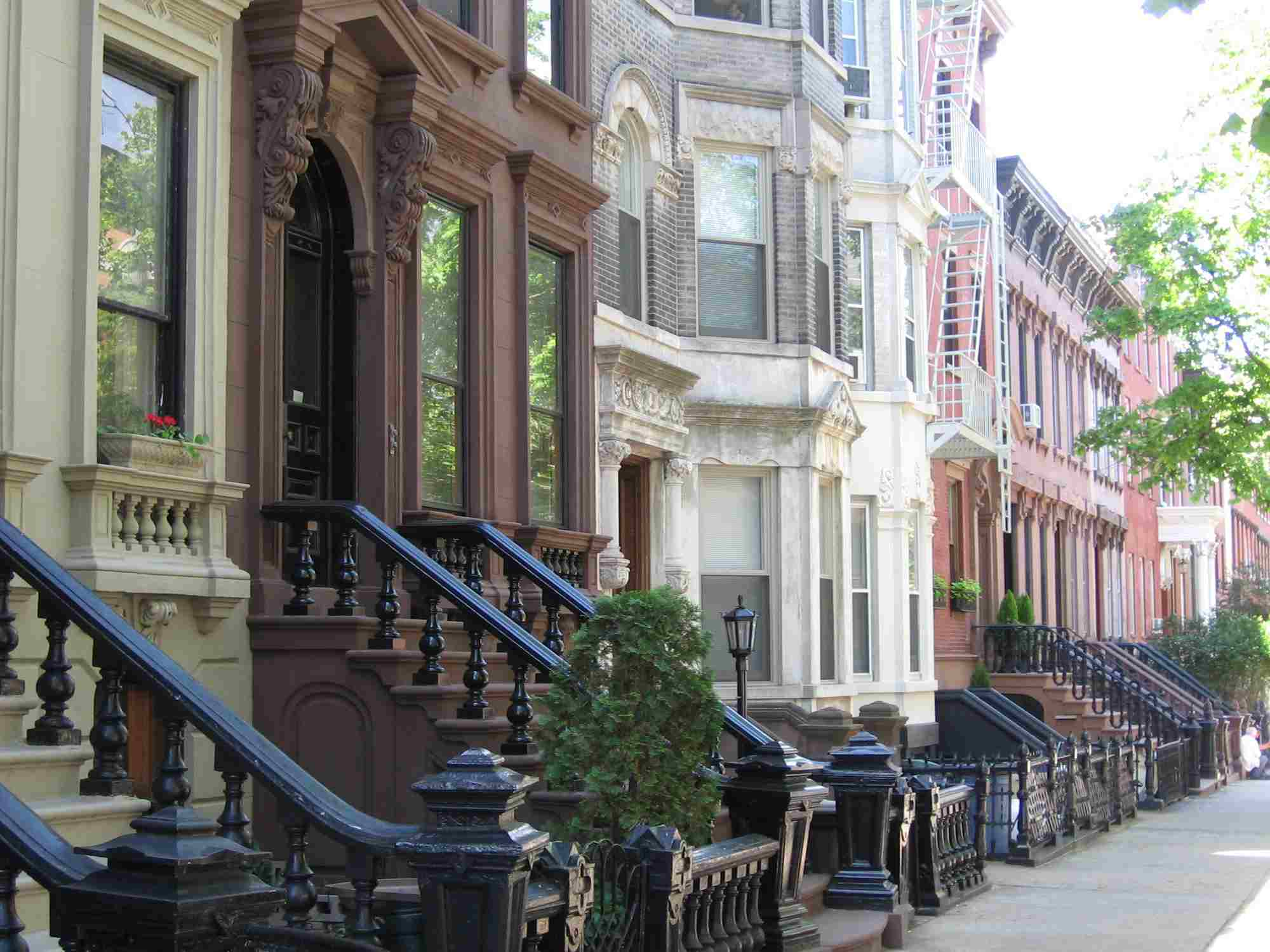 Landmark 19th-century rowhouses, including brownstones in the Greenpoint Historic District, Brooklyn.
