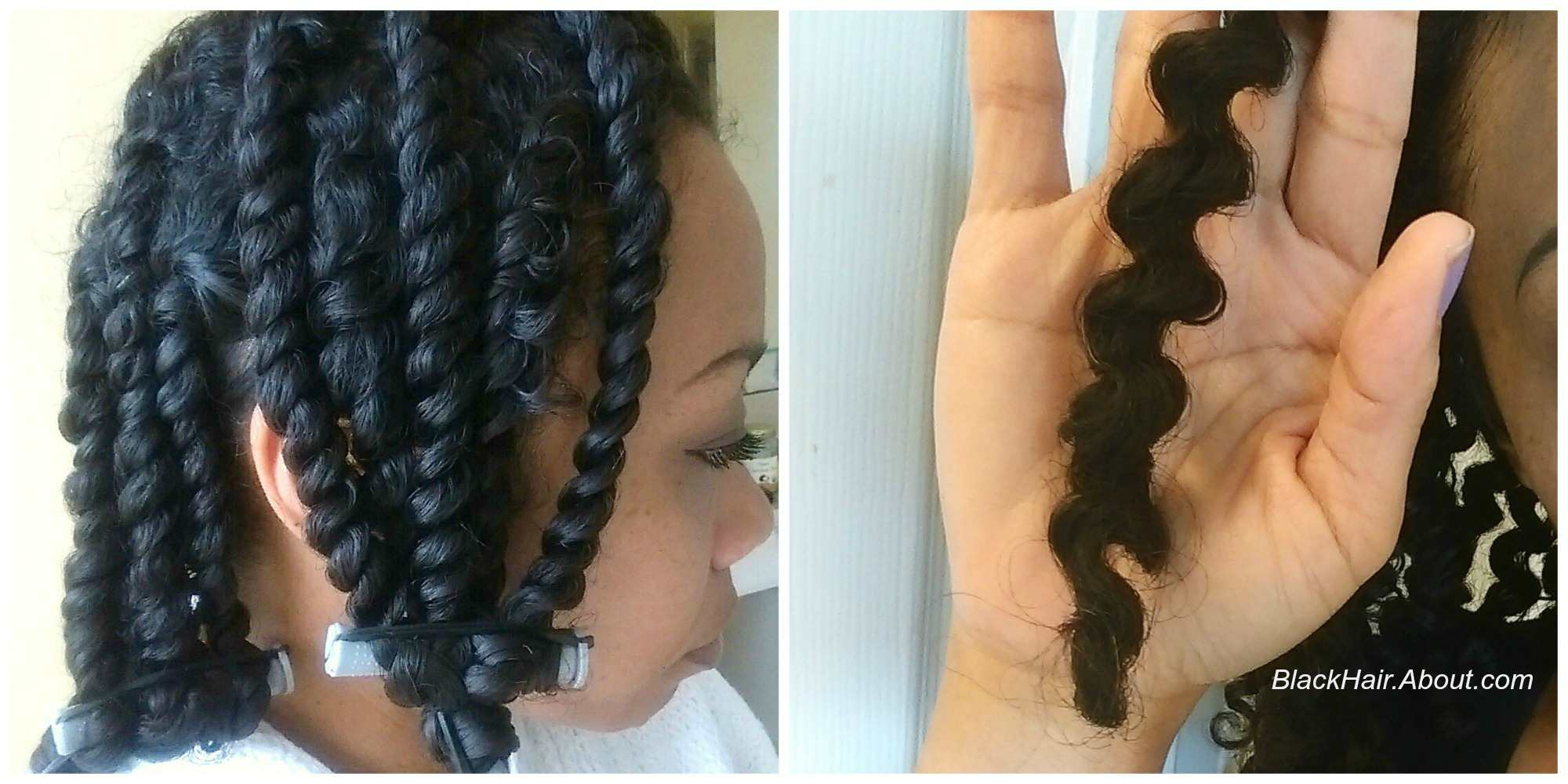 Setting two-strand twists with CURLS Blueberry Bliss Twist n Shout Cream