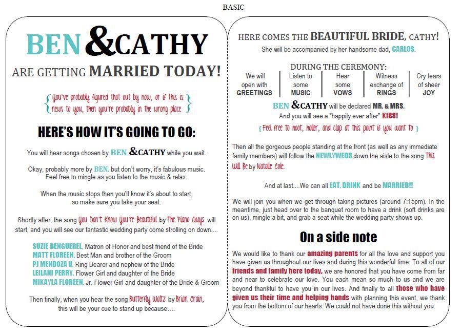 A template for a modern wedding ceremony program