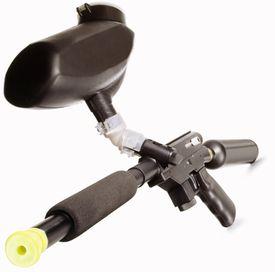 A black paintball gun
