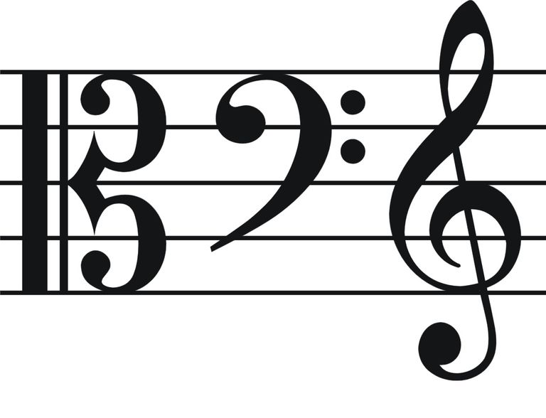 The four major clef symbols on a white background.