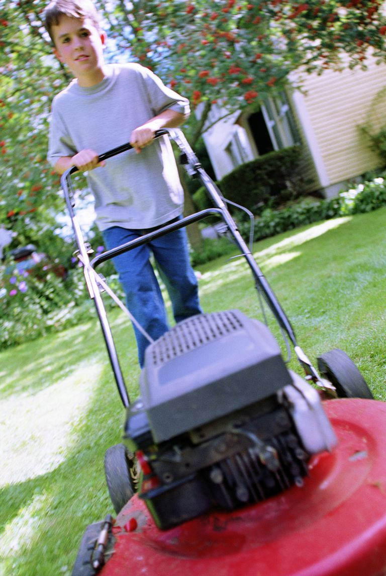 Young boy using a lawnmower